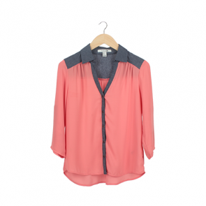 Pink Button-Tab Sleeve Shirt