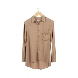Brown Basic Barrel Shirt