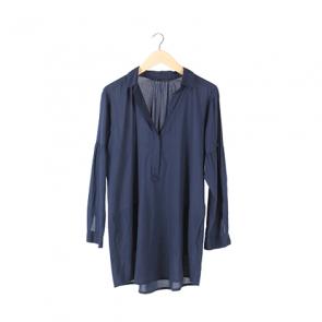 Blue Plain Oversized Shirt
