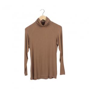 Brown Basic Turtleneck T-Shirt