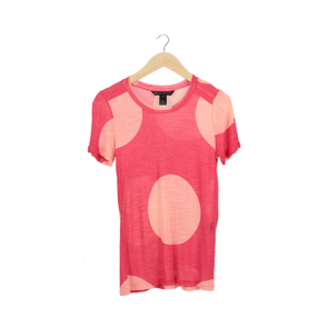 Pink Polka-Dot Short Sleeve T-Shirt