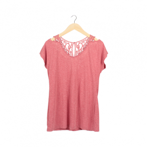 Pink Washed Back-Lace T-Shirt