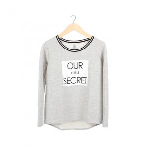 Grey Plaid Scoop Neck Sweater