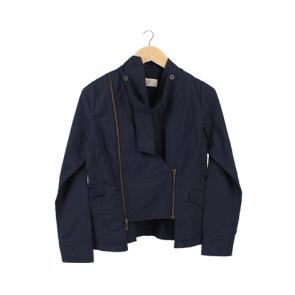 Navy Basic Double-Breasted Jacket