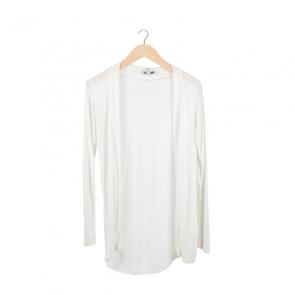 White Plain Long Sleeves Cardigan