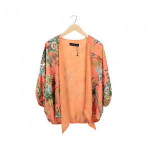 Orange Floral Batwing Outerwear