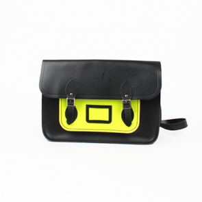 The Cambridge Satchel Company Black and Green Leather Classic Satchel