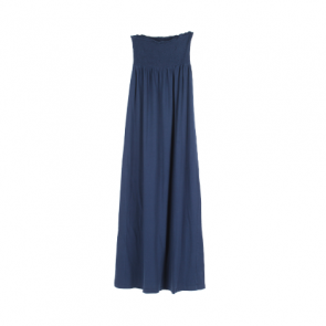 Blue Plain Elastic Long Dress