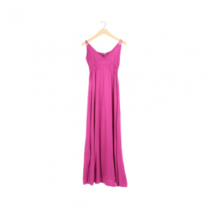 Pink Plain Sleeveless Long Dress