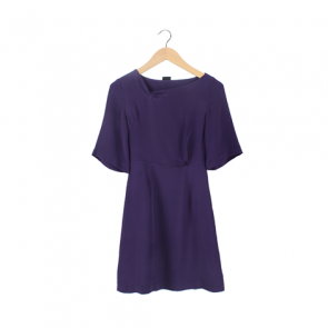 Purple Silk Asimetric Midi Dress