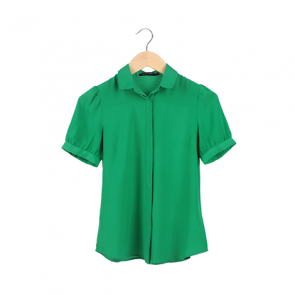 Green Plain Barrel Cuffs Shirt