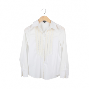 White Ruffle Gauntlet Cuffs Shirt