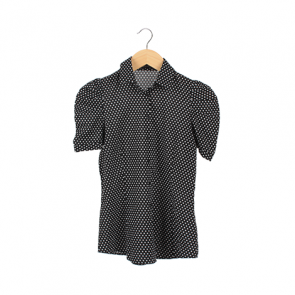 Black Polkadot Juliet Sleeve Shirt