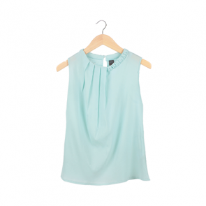 Blue Plain Scoop Neck Sleeveless Blouse