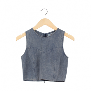 Blue Denim Coop Neck Sleeveless Blouse