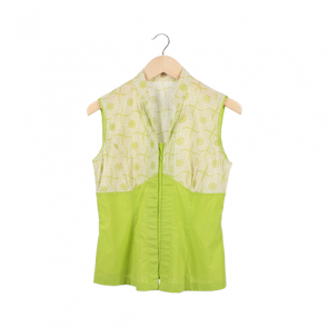 Green Floral Plunging Neck Sleeveless Blouse