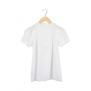White Ruffle Band Short Sleeve Blouse