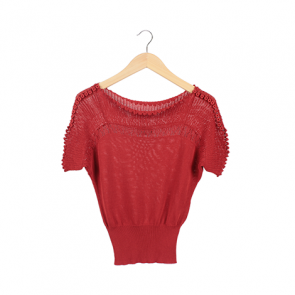Red Knit Short Sleeve Blouse