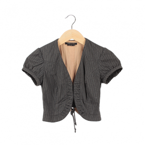 Grey Striped Short Sleeve Bolero Outerwear