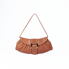 Celine Brown with Gold Lock Leather Clutch