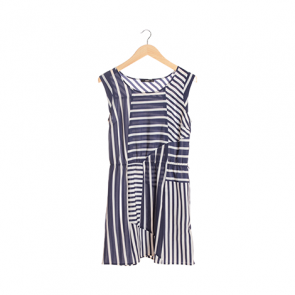 Blue and White Striped Elasticized Waist Midi Dress