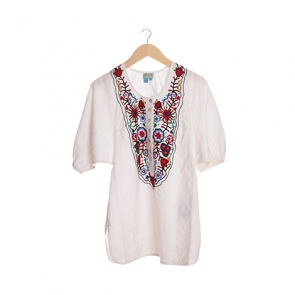 White Floral Batwing Blouse
