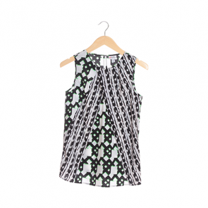 Multi Abstract Scoop Neck Sleeveless Blouse