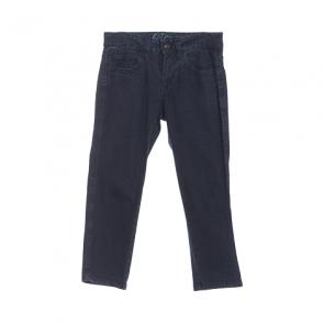 Blue Plain Cropped Jeans