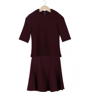 Maroon Two Piece Dress (Top and Skirt)