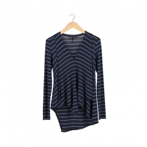 Blue Striped V-Neck T-Shirt