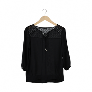 Black Elbow-Length Blouse
