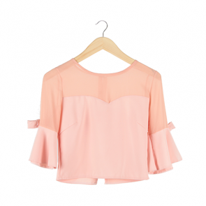 Peach Plain Flared Sleeve Blouse
