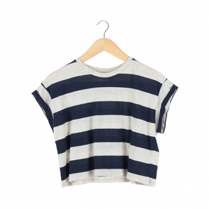Blue and Grey Striped Cropped T-Shirt