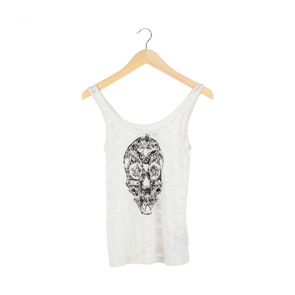 White Floral Lace Sleeveless Top