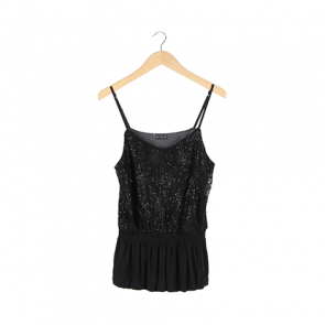 Black Sequin Comisole Sleeveless Top