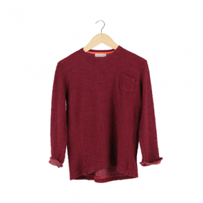Red Plain Long Sleeve Sweater