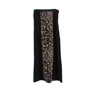 Black Animal Print Slit Maxi Skirt