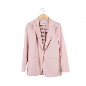 Pink Plain Single-Breasted Blazer