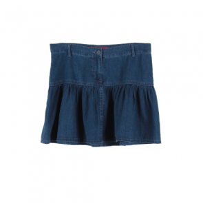 Blue Denim Flared Mini Skirt