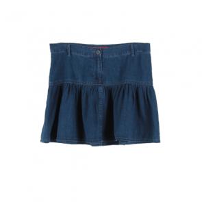 Blue Denim Flared Mini Skirt