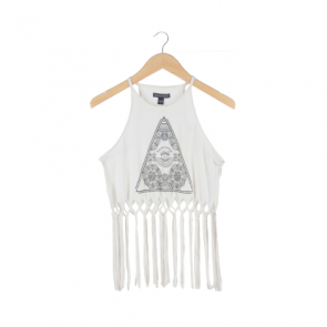 White Fringe Sleeveless Top