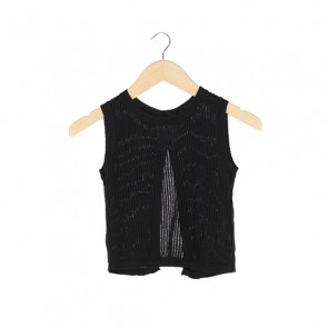 Black Plain Lizy Knited Sleeveless Blouse