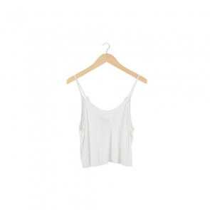 White Halter Cropped Tank Top