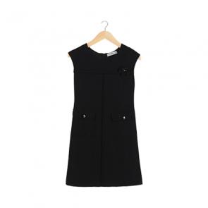 Black Ribbon Shift Midi Dress