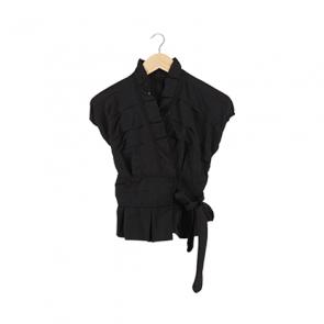 Black Silk Ruffle Blouse