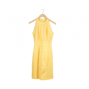 Yellow Halter Neck Cut Out Midi Dress