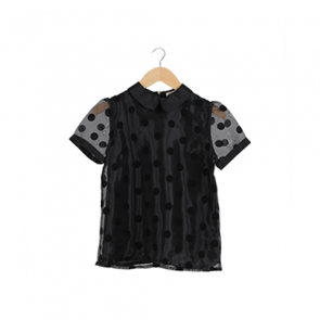 Black Polka-Dot Short Sleeve Blouse