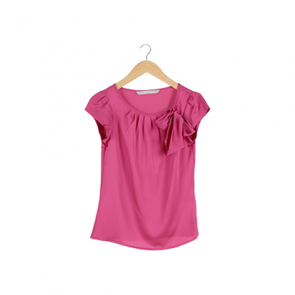 Pink Plain Ribbon Blouse