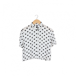 White Polkadot Cropped Shirt