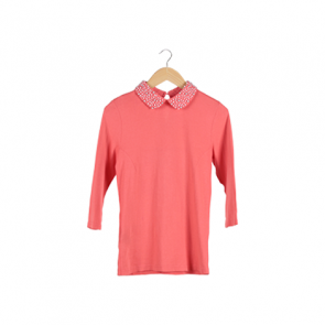 Pink Pearl Embellished Collar T-Shirt